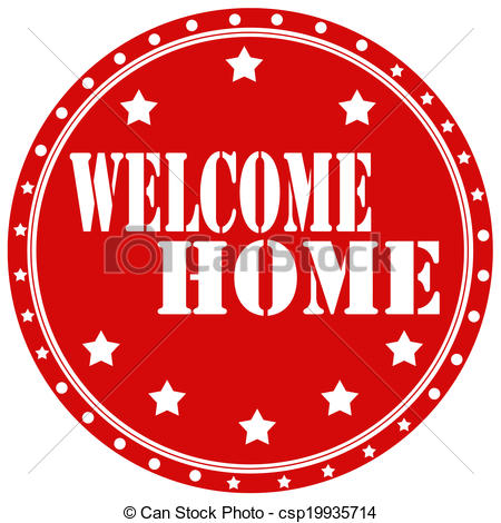 ... Welcome Home-label - Red label with text Welcome Home,vector.