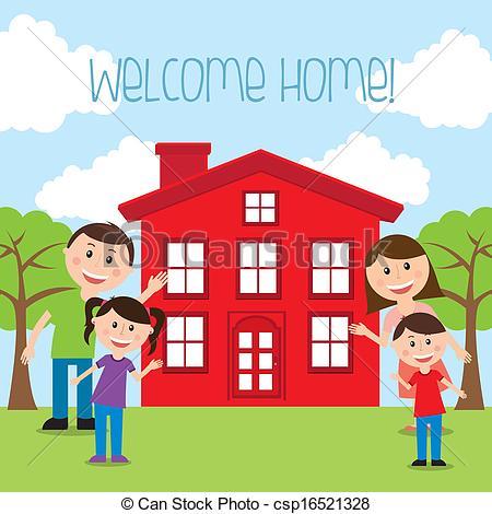... welcome home over landscape background vector illustration