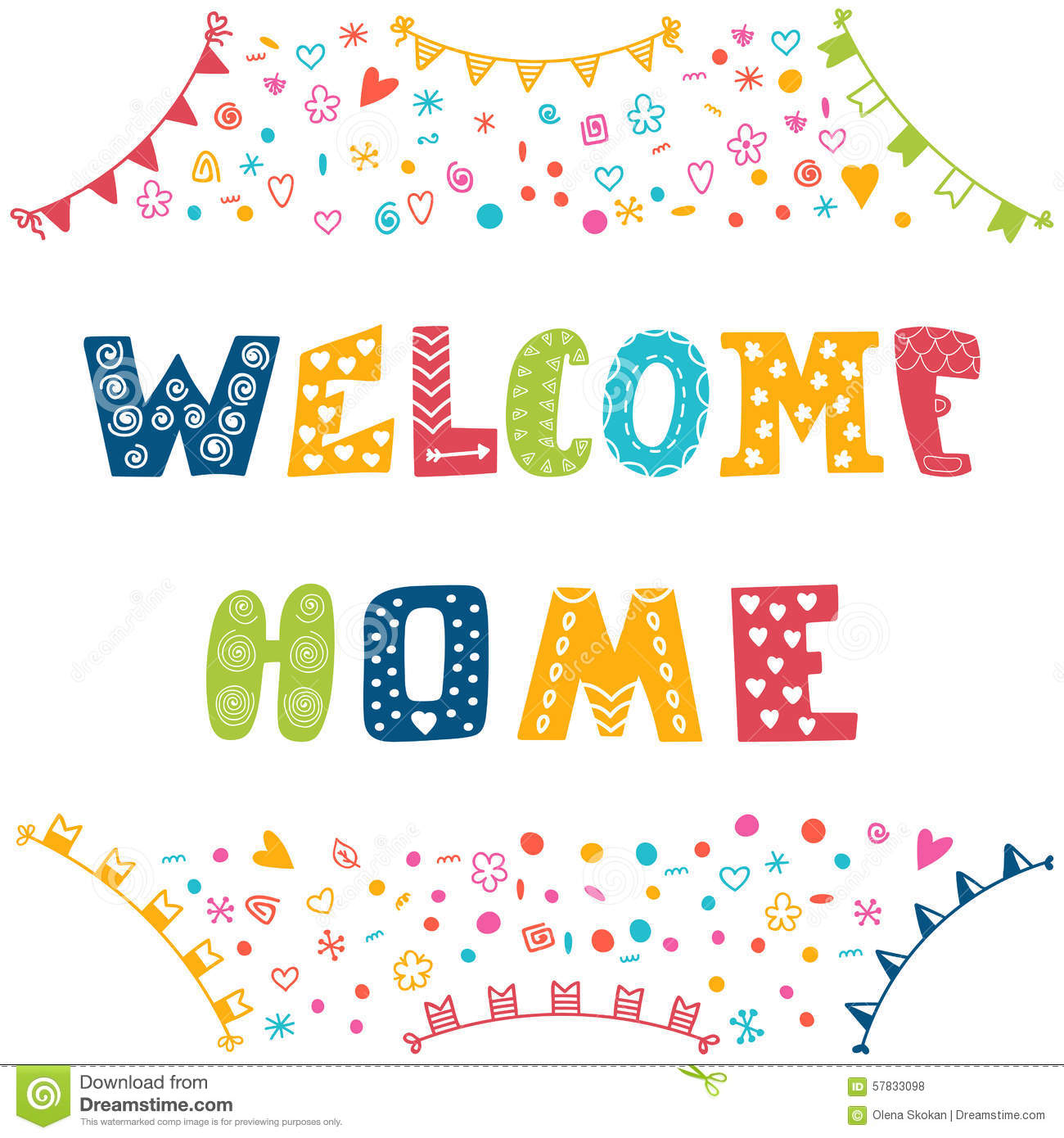 Welcome home text with colorful design elements Royalty Free Stock Photos