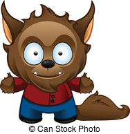 ... Werewolf Monster - Happy - A cute vector illustration of a.