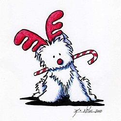 Westie Reindeer by Artist Kin - Westie Clipart