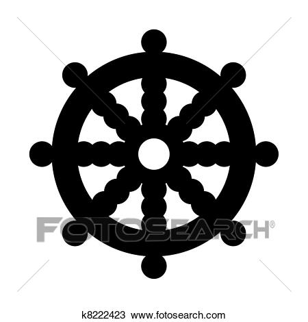 Buddhist Wheel Of Dharma In Black Silhou-Buddhist Wheel of Dharma in black silhouette islolated on white background.-4