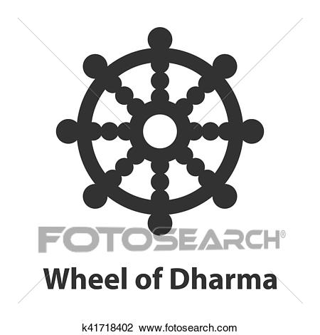 Clipart - Icon of Wheel of Dharma symbol. Buddhism religion sign.  Fotosearch - Search