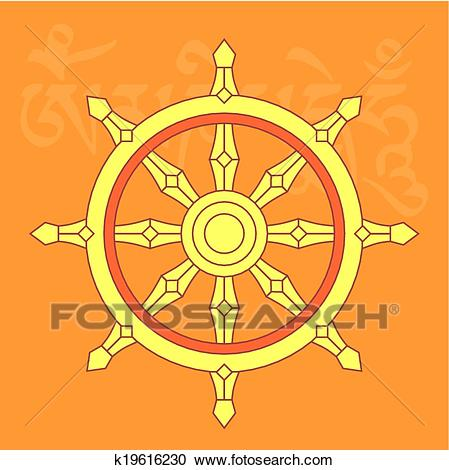 Clipart - Wheel Of Dharma,buddhist Relig-Clipart - Wheel of dharma,buddhist religious symbo. Fotosearch - Search Clip  Art,-6