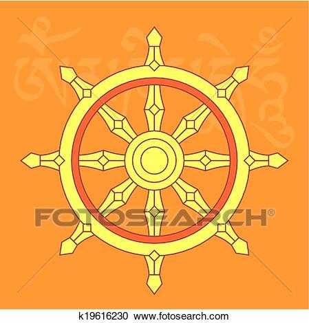 Clipart - Wheel of dharma,buddhist religious symbo. Fotosearch - Search Clip  Art,