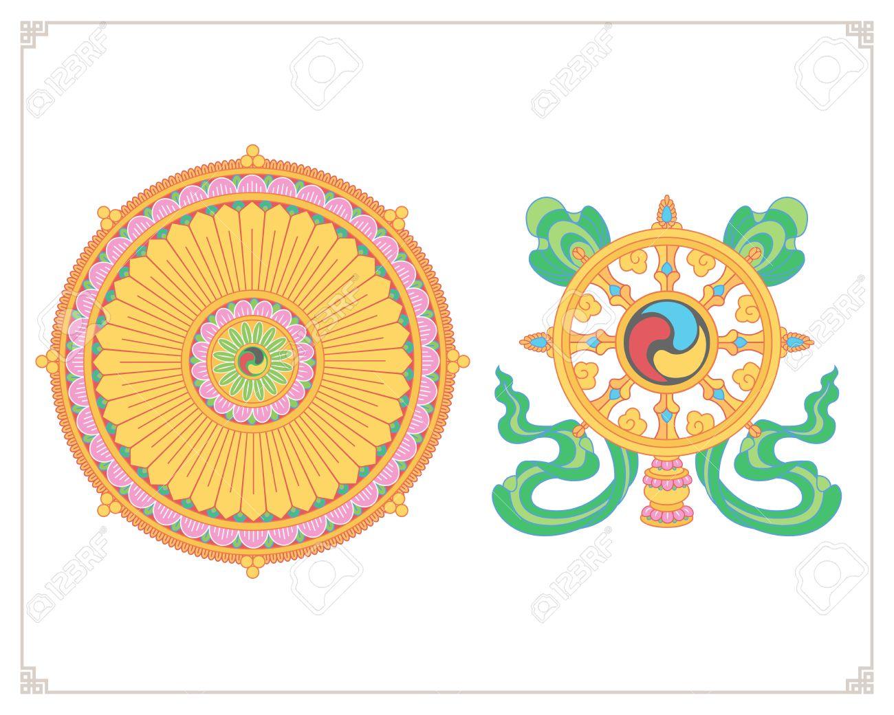 Dharma Wheel, Dharmachakra Icons. Wheel -Dharma Wheel, Dharmachakra Icons. Wheel of Dharma in flat design. Buddhism  symbols.-10