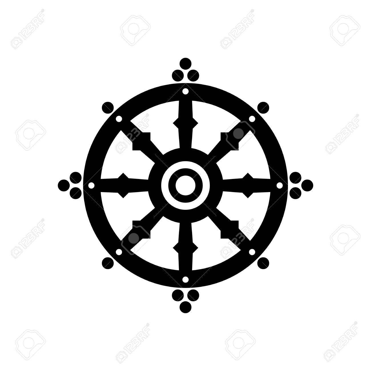 Dharma wheel of fortune, spirituality, Buddhism religious symbol. Vector  illustration Stock Vector -