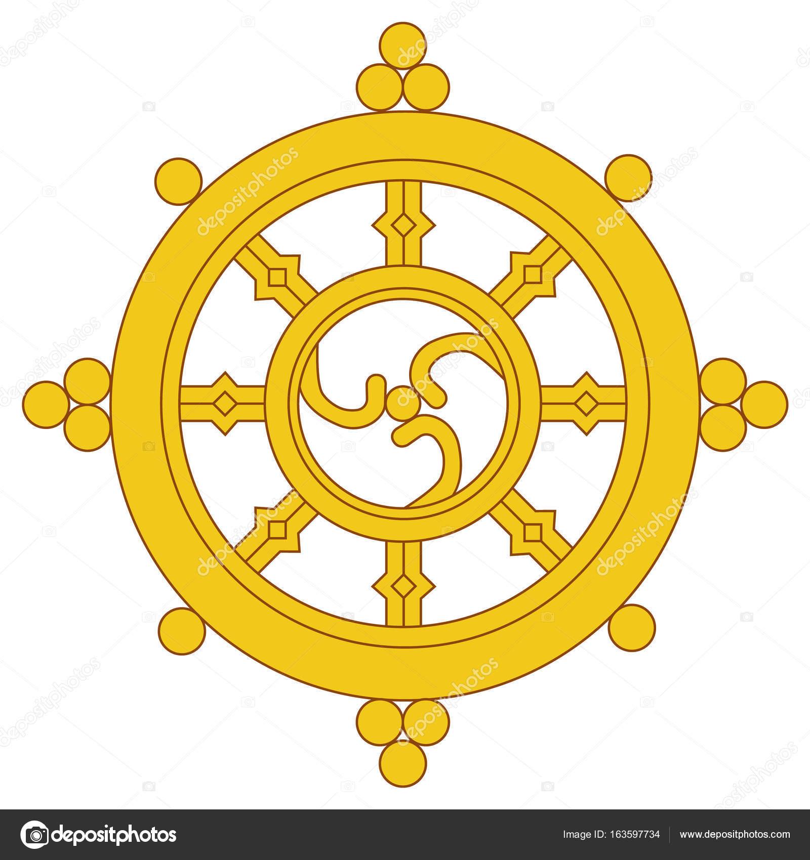 Dharma wheel raster u2014 Stock Photo