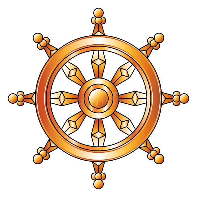 Download Golden Dharma Wheel. Buddhism Religion Symbol. Stock Vector -  Illustration of asia,