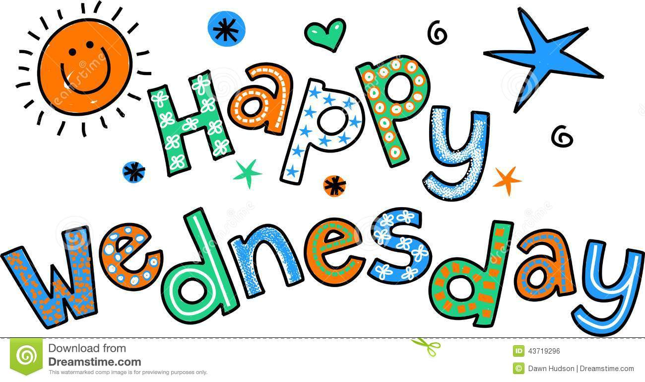 Whimsical Cartoon Special Occasion Text That Reads Happy Wednesday