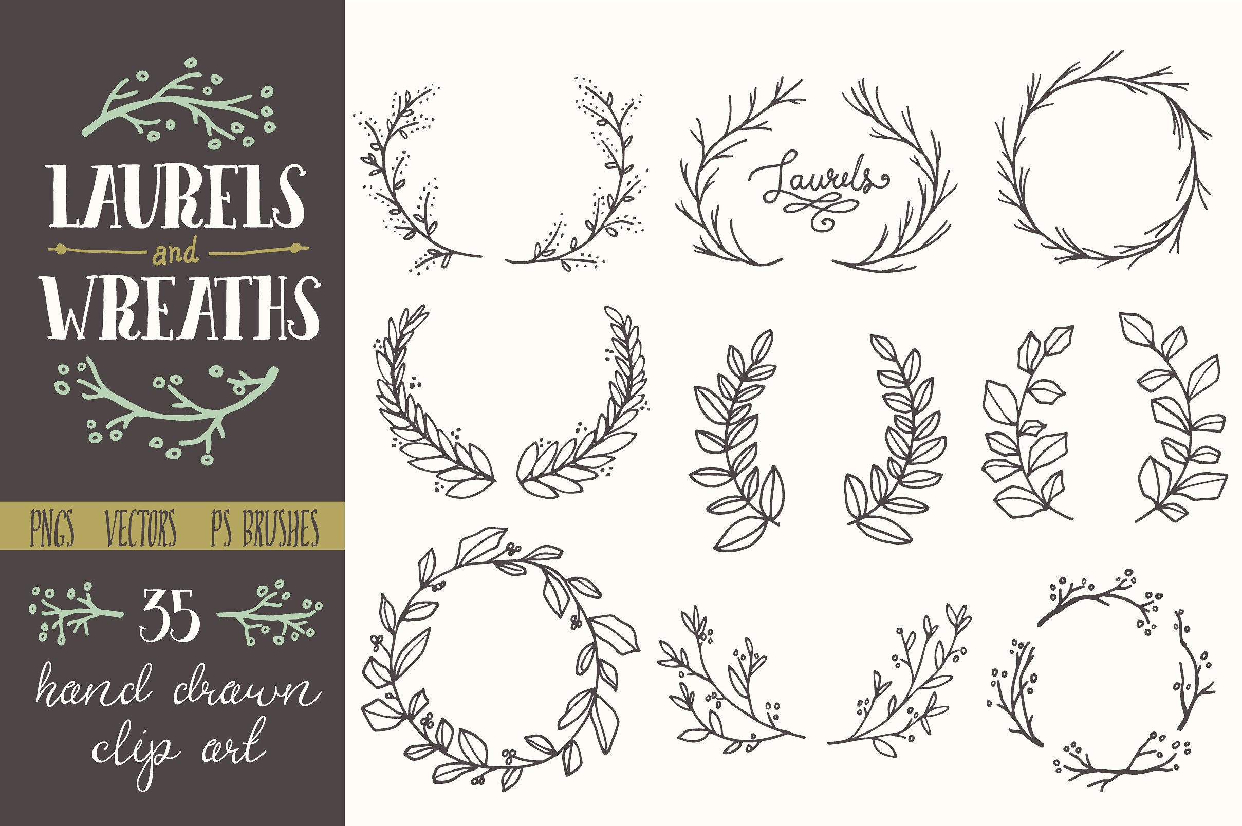 Whimsical Laurels u0026amp; Wreaths Clip-Whimsical Laurels u0026amp; Wreaths Clip Art-4
