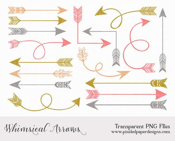 Whimsical/tribal Arrow Clip art ARROW by PixeledPaperDesigns, $3.50