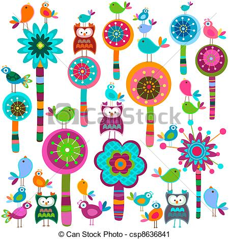 whimsy flowers - whimsy forest with flow-whimsy flowers - whimsy forest with flower trees and birds whimsy flowers Clipartby ...-0