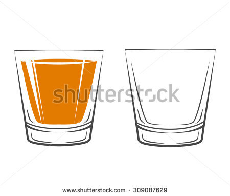 Whiskey, Drinking Glass, Alcohol. Isolated On White