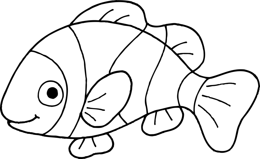 white 1 Fish clipart black .