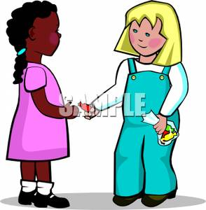 White And Black Girls Making Friends Royalty Free Clipart Picture