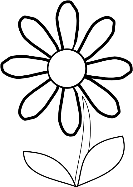White Daisy With Stem Clip Ar - Daisy Clipart Black And White