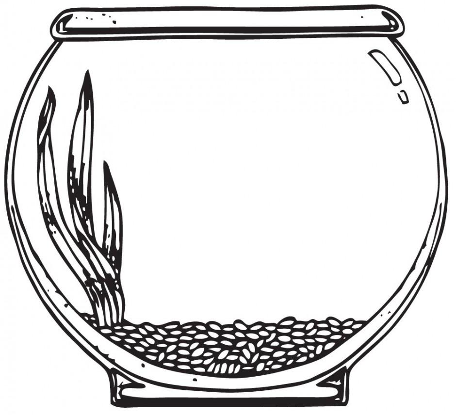 White Fish Bowl Clipart .