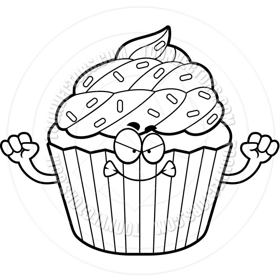 White Girl Halloween Cupcake Clipart Bla-White Girl Halloween Cupcake Clipart Black And White Pin Cartoon Frown-18
