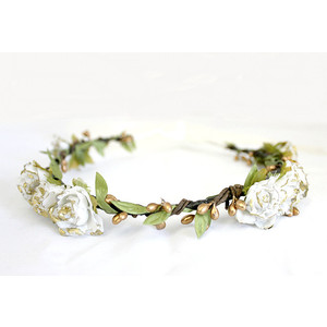 White Gold Rose Floral Crown, .-White Gold Rose Floral Crown, .-7