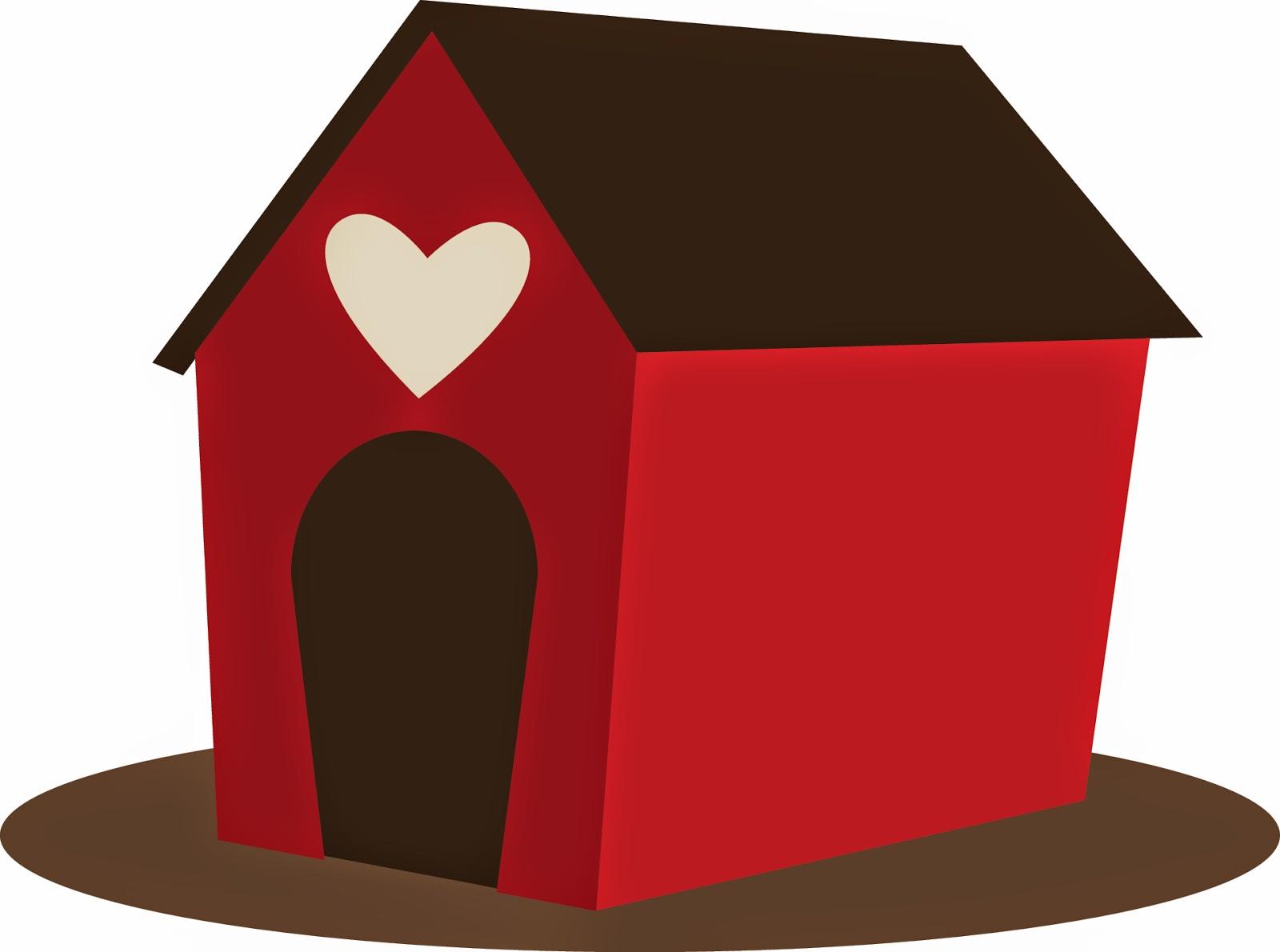 White Heart Dog House Clipart