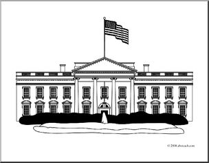 Clip Art: White House 1a (coloring page) I abcteach clipartlook.com - large