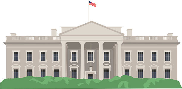Washington DC - Illustration vector art illustration. The White House  vector art illustration
