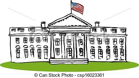 Whitehouse Retro - csp1602336 - White House Clipart
