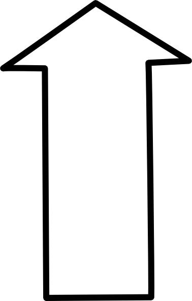 White Outline Up Arrow clip art