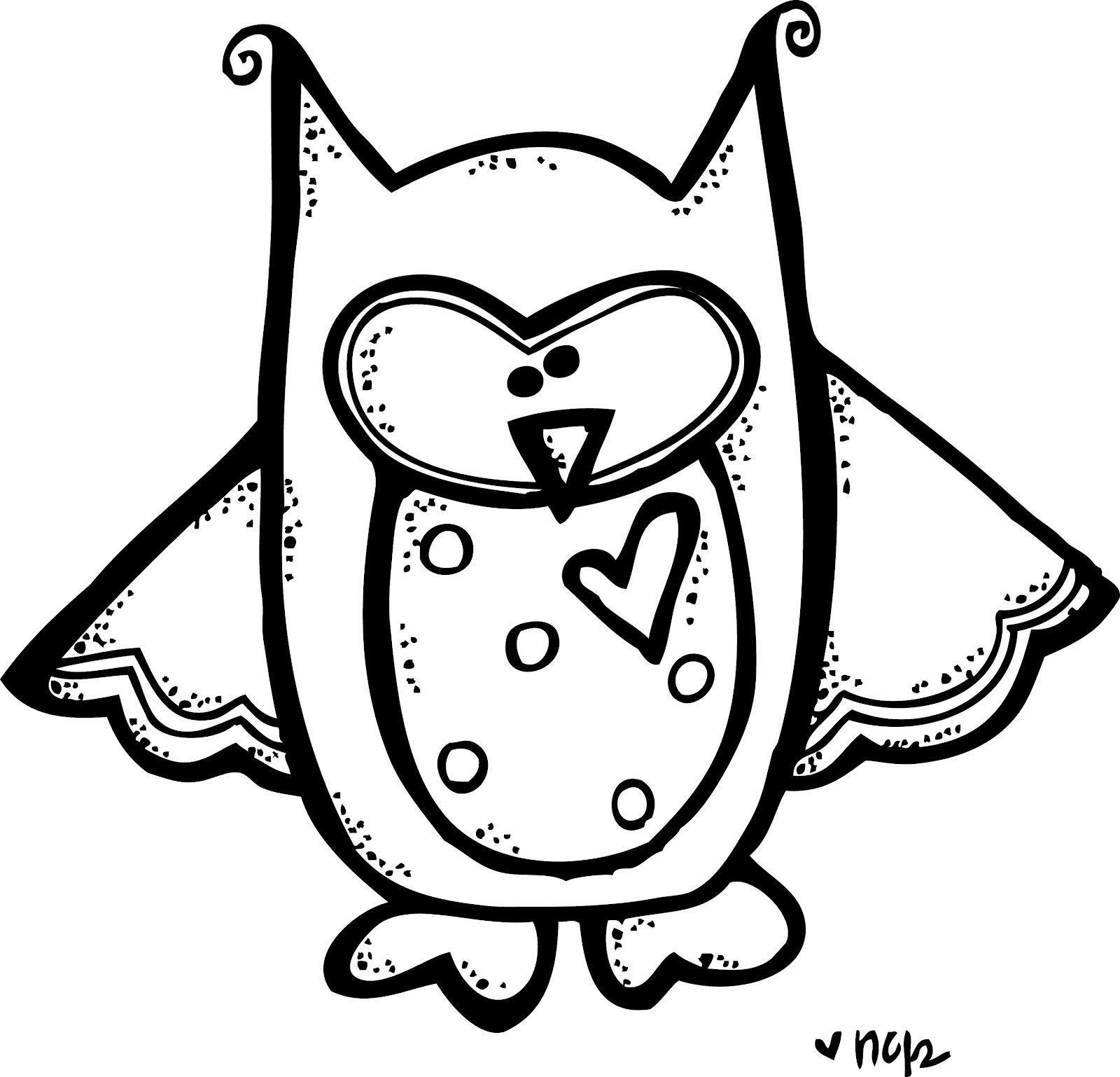 White Owl Clip Art Black and White