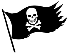 white pirate flag vector .