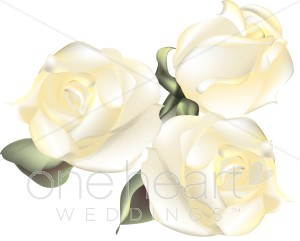 Three White Roses Clipart