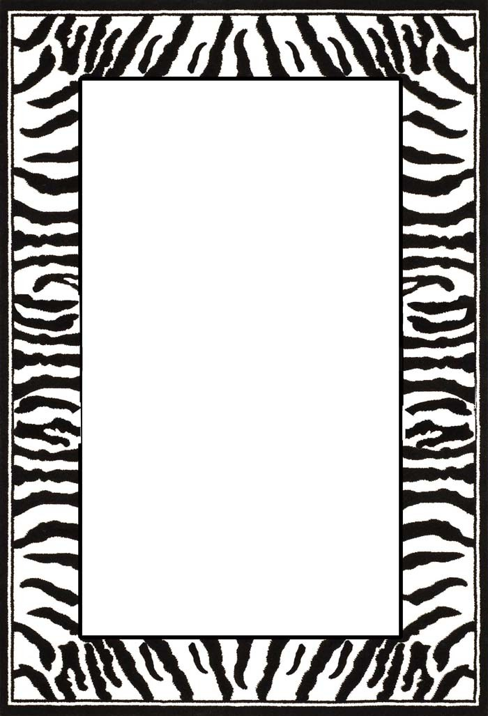 White Rug With Animal Print Border
