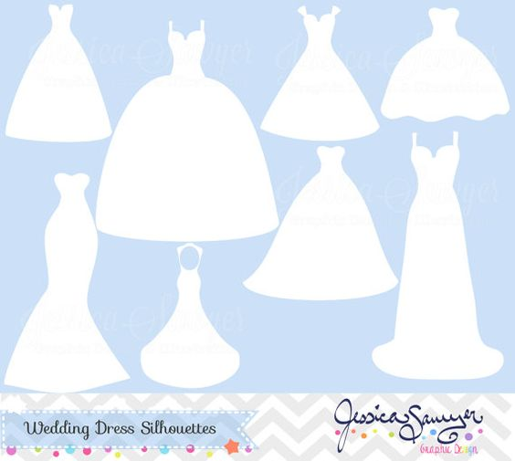 White wedding dress clipart, silhouette clipart, for greeting cards, announcements, scrapbooking