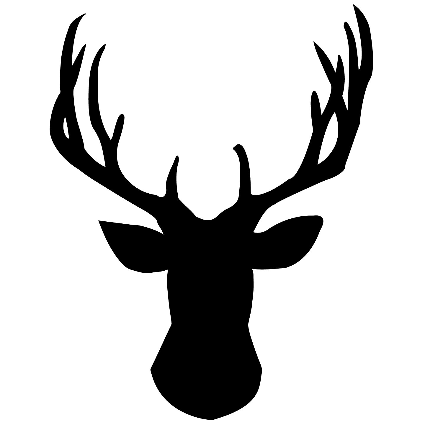Whitetail Deer Clipart. Deer Head Silhouette Vector .