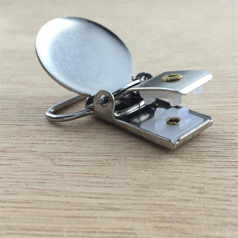Wholesale 100pcs 25mm silver Metal Round cover circular Pacifier Suspender mitten Clips Holders For Project Craft