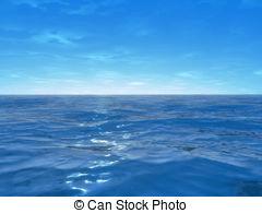 wide ocean - 3d rendered illustration of the blue ocean