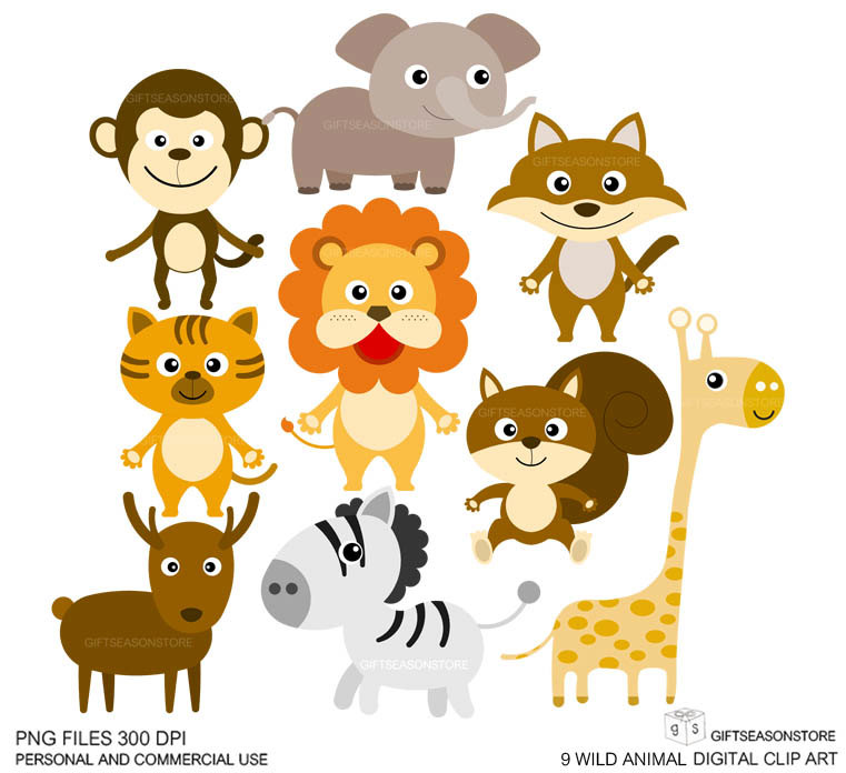 Wild Animal Clip Art Digital Clip Art For By Giftseasonstore