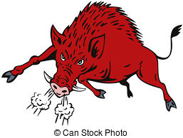 ... Wild Hog Jumping - Illustration of a-... Wild Hog Jumping - Illustration of a wild pig boar razorback.-16