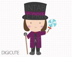 Willy Wonka from Willy Wonka and the Cho-Willy Wonka from Willy Wonka and the Chocolate Factory Kids Clip Art, INSTANT DOWNLOAD,-8