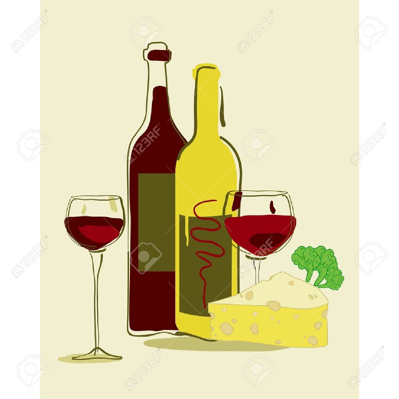 wine and cheese: Red wine and .