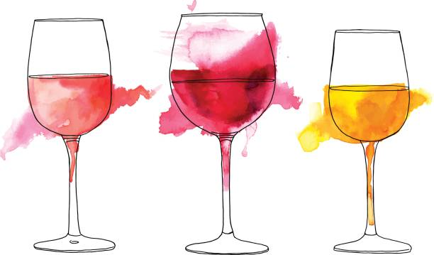 Set of vector and watercolor drawings of-Set of vector and watercolor drawings of wine glasses vector art  illustration-0