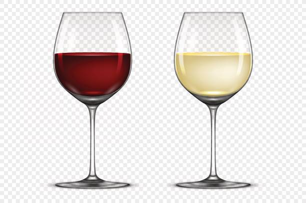 Vector realistic wineglass icon set - wi-Vector realistic wineglass icon set - with white and red wine, isolated on  transparent background-3