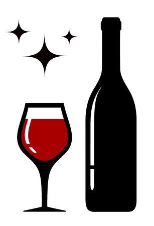 wine glass and bottle silhoue - Wine Clipart