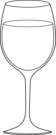 Wine Glass Black White Clipart