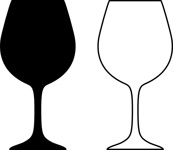 Wine Glass Silhouette Black And White Clip Art At Clker Com Vector