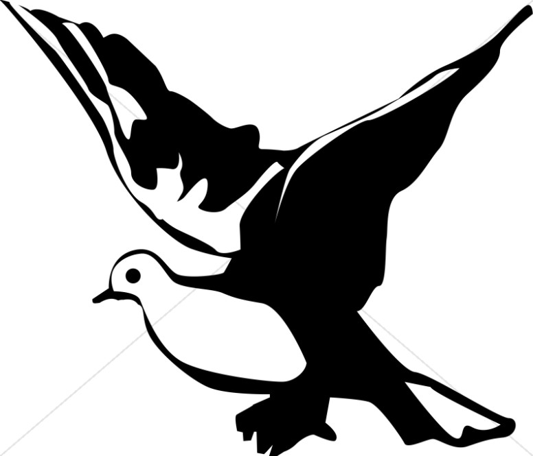 Winged Black and White Dove C - Clip Art Dove