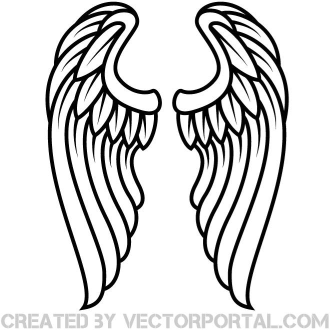 Wings Outline Vector Clip Art Eps