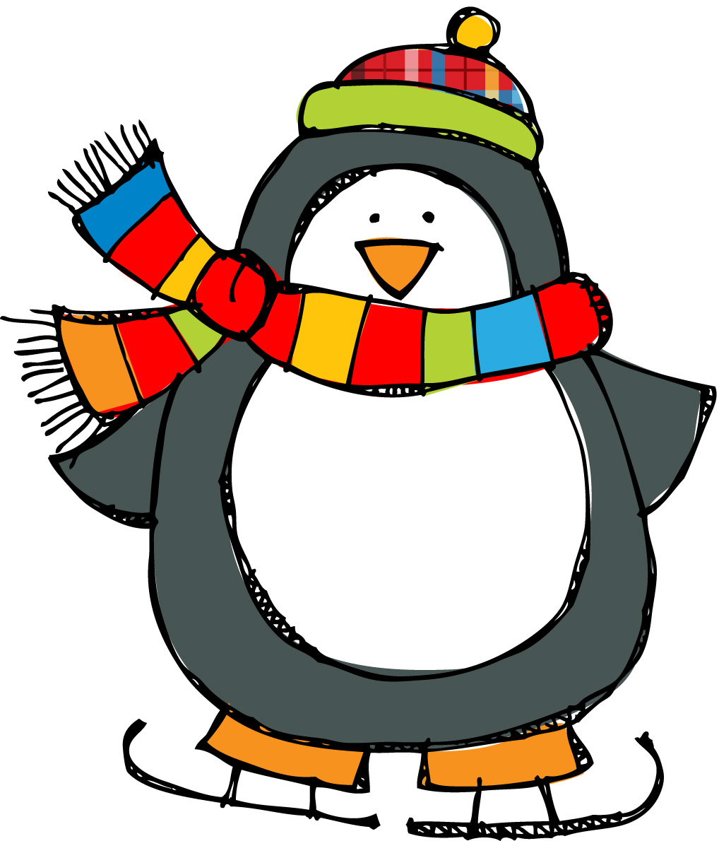 winter penguin clipart