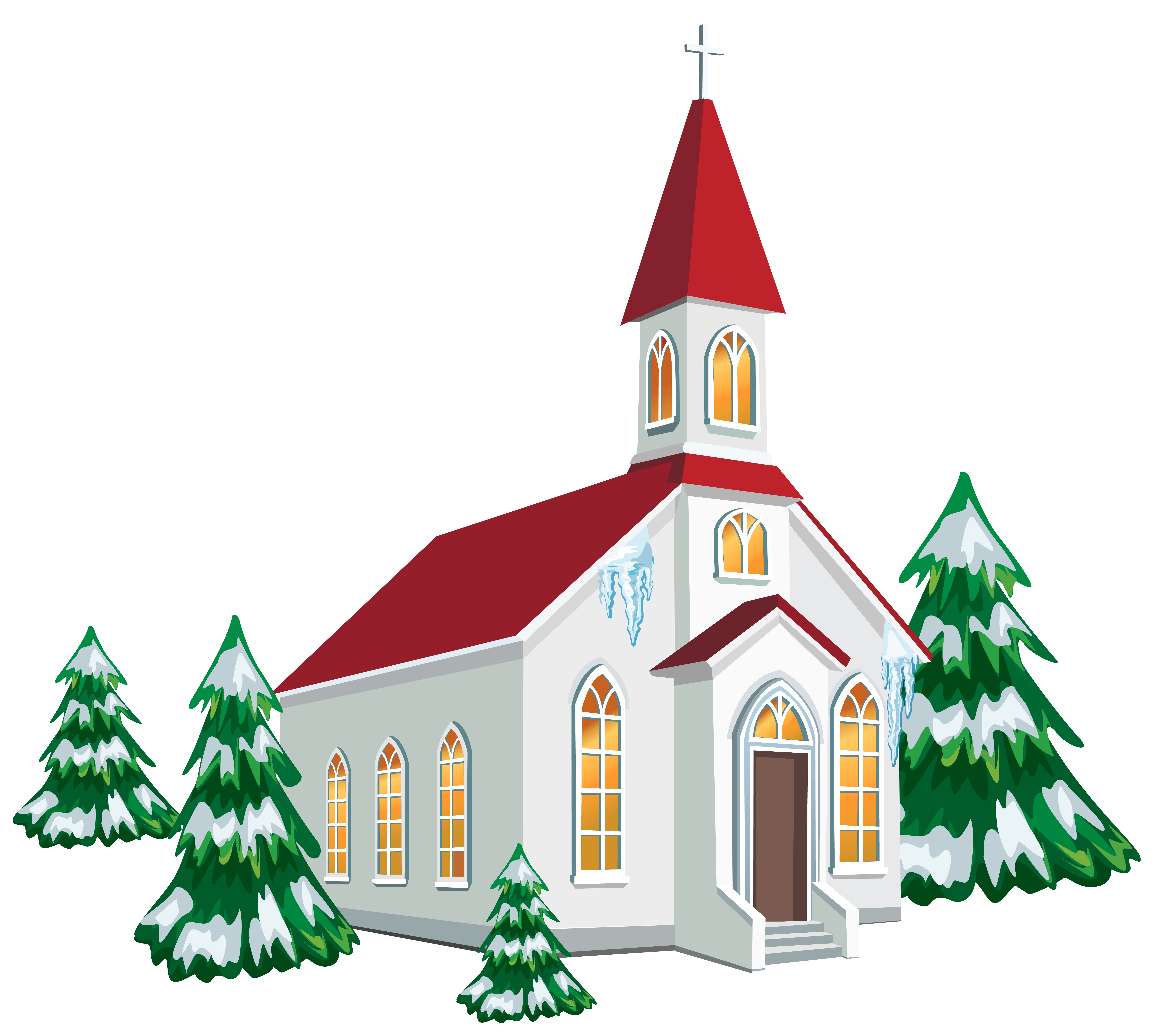 Winter Church With Snow Trees Clipart Im-Winter church with snow trees clipart image-19